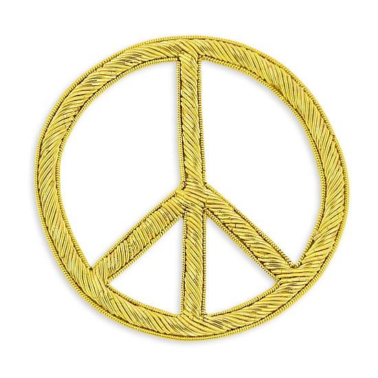 Sew On Bullion Peace Sign Crest Applique | M&J Trimming