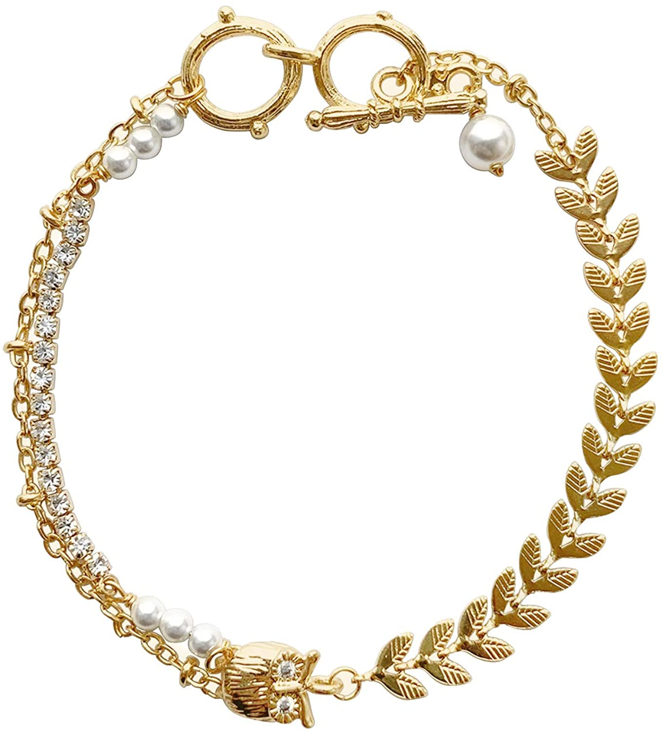 CCijiNG Bracelet Classic for Women Unique Design Bracelet Jewelry Gifts,Pearls Bracelet,Gold Plated Brass Bracelet Gifts for Valentine Day
