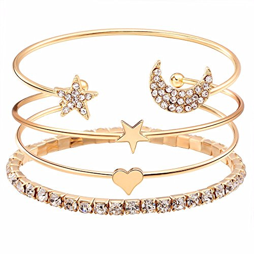 Gleaming Diva Model Jewelry Trendy Crystal Multilayer Enchantment Bracelet for Women and Females (9816b)(Gold) - UnifiWorld
