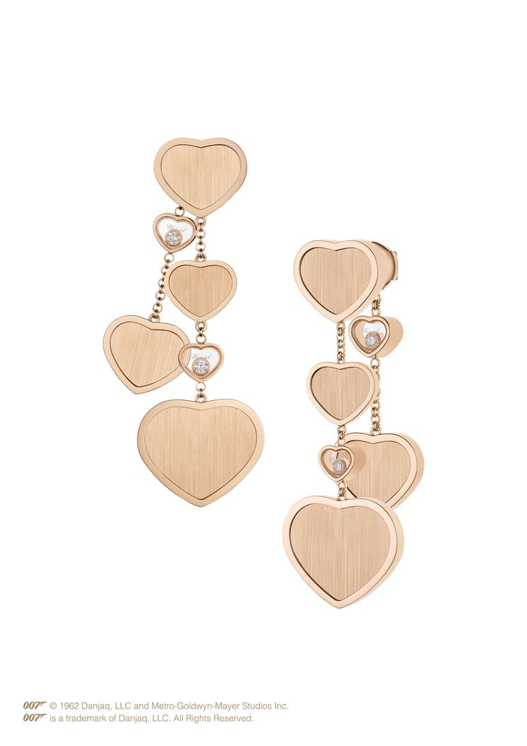 HAPPY HEARTS GOLDEN HEARTS EARRINGS, ETHICAL ROSE GOLD, DIAMONDS 83a707-5029 - Chopard Swiss Luxury Watches and Jewelry Manufacturer
